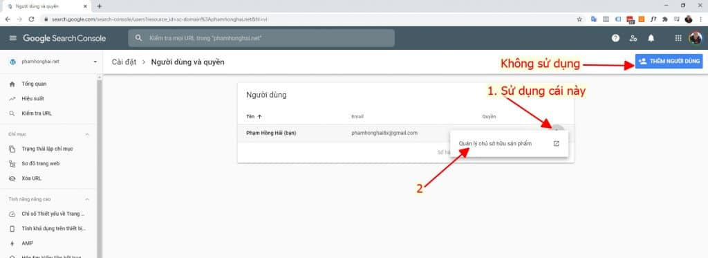 Goole search console, quyền sở hữu website, khai báo Google search console, submit URL google search console